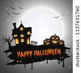 halloween background with... | Shutterstock .eps vector #1137631760