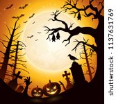 halloween background with... | Shutterstock .eps vector #1137631769
