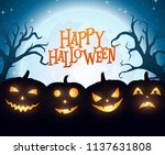 banner cartoon halloween... | Shutterstock .eps vector #1137631808