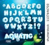 Vector Aquatic Font. Cartoon...