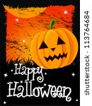 happy halloween card with... | Shutterstock .eps vector #113764684
