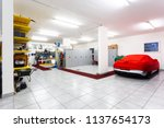 garage with luxury sports cars. ... | Shutterstock . vector #1137654173