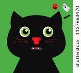 black cat. happy halloween.... | Shutterstock .eps vector #1137663470