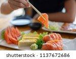 close up a chopsticks and... | Shutterstock . vector #1137672686