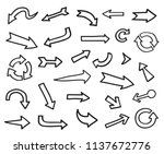 vector hand drawn arrows set. | Shutterstock .eps vector #1137672776