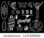 surf bundle white on black is a ... | Shutterstock .eps vector #1137695003