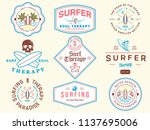 colored surf badges vol. 1 is a ... | Shutterstock .eps vector #1137695006
