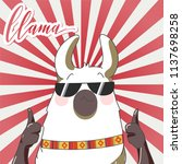 lama with sun glasses in retro... | Shutterstock .eps vector #1137698258