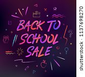 back to school sale background. ... | Shutterstock .eps vector #1137698270