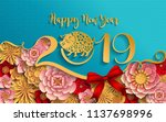 happy chinese new year 2019... | Shutterstock .eps vector #1137698996