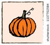 roughly hand drawn pumpkin.... | Shutterstock .eps vector #1137702584