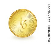 tezos cryptocurrency gold coin... | Shutterstock .eps vector #1137707039