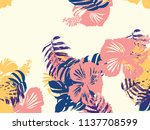 tropical background. green ... | Shutterstock .eps vector #1137708599