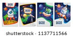 set of colorful space cards.... | Shutterstock .eps vector #1137711566