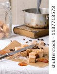 fudge candy  coffee beans and...   Shutterstock . vector #1137713573