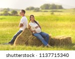 young pregnant woman with her... | Shutterstock . vector #1137715340