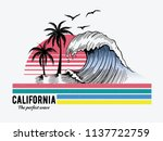 california theme text with... | Shutterstock .eps vector #1137722759