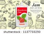 strawberry jam ads. vector... | Shutterstock .eps vector #1137733250