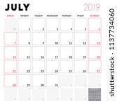 calendar planner for july 2019. ... | Shutterstock .eps vector #1137734060