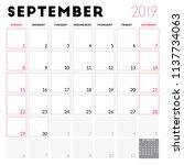 calendar planner for september... | Shutterstock .eps vector #1137734063