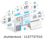 taxation concept  tax form or...   Shutterstock .eps vector #1137737510