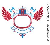 ancient fortress emblem with...   Shutterstock .eps vector #1137739274