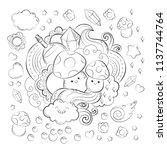 halloween concept. hand drawn... | Shutterstock .eps vector #1137744764