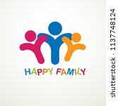 happy family simple vector logo ... | Shutterstock .eps vector #1137748124