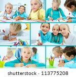 smart schoolboy and twin girls... | Shutterstock . vector #113775208