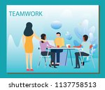 people work in a team and... | Shutterstock .eps vector #1137758513