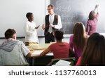 portrait of students listening... | Shutterstock . vector #1137760013