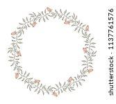 elegant floral wreath on white... | Shutterstock . vector #1137761576
