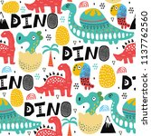 pattern with dino dinosaur with ... | Shutterstock .eps vector #1137762560