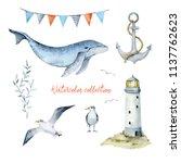 watercolor set of elements for... | Shutterstock . vector #1137762623