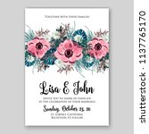 Stock vector floral wedding invitation printable template card vector flower wreath for bridal shower invitation 1137765170