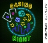 colorful neon luminous casino... | Shutterstock .eps vector #1137767549