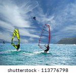 Wind Surfers On The Ocean