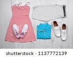 set of stylish clothes and...   Shutterstock . vector #1137772139