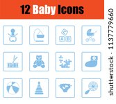 set of baby icons.  blue frame... | Shutterstock .eps vector #1137779660