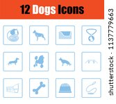 dogs icon set. blue frame... | Shutterstock .eps vector #1137779663