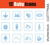 set of baby icons.  blue frame... | Shutterstock .eps vector #1137779666