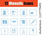 utensils icon set. blue frame... | Shutterstock .eps vector #1137779693