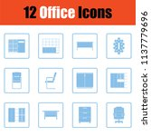 office furniture icon set. blue ... | Shutterstock .eps vector #1137779696