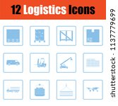 logistics icon set. blue frame... | Shutterstock .eps vector #1137779699