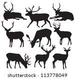 vector deer silhouette | Shutterstock .eps vector #113778049