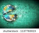 globe and symbols of the school.... | Shutterstock . vector #1137783023