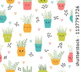 cute seamless pattern with... | Shutterstock .eps vector #1137791726