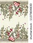 horizontal border with cherry...   Shutterstock . vector #1137804830