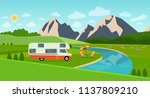 retro camper car trailers... | Shutterstock .eps vector #1137809210