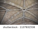 medieval vaulted ceiling  | Shutterstock . vector #1137832538